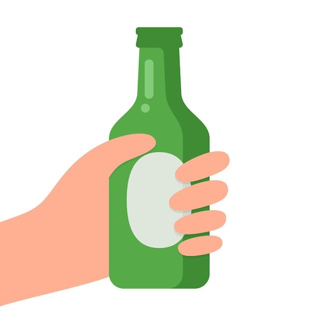 Mains Avec Bouteille De Bière Vecteur Premium