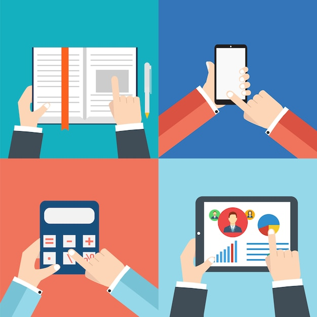 Mains de bureau avec: tablette ou tablette, calculatrice, livre et smartphone Vecteur Premium