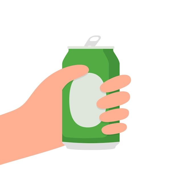 Mains Avec Une Canette De Bière Vecteur Premium