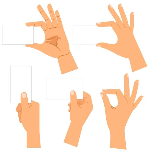 Mains Avec Des Cartes De Visite En Papier Isolées Vecteur Premium