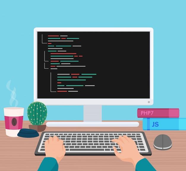 Mains clavier pc Vecteur Premium