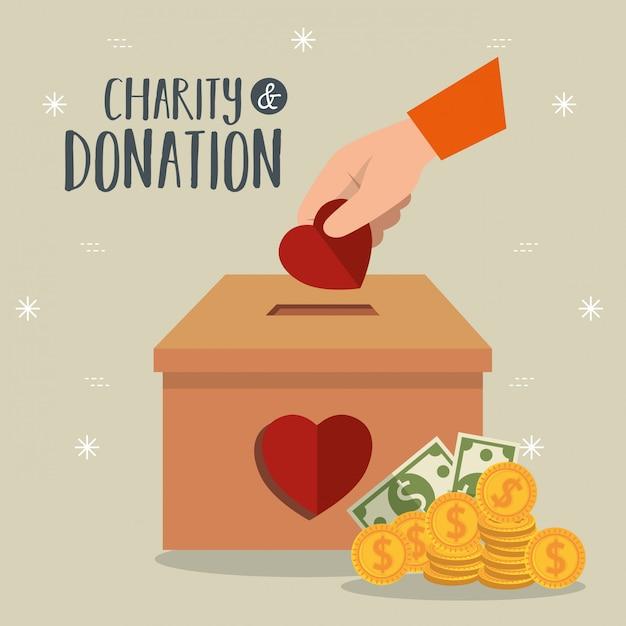 Mains avec des coeurs pour un don de charité Vecteur gratuit