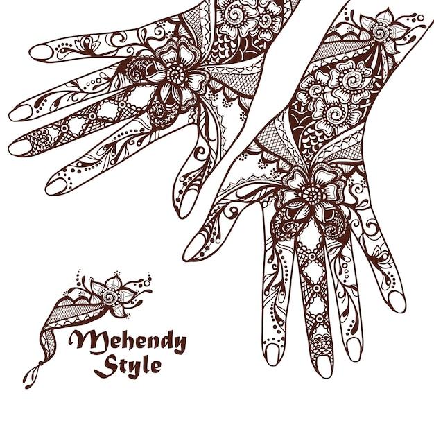 Mains Décoratives Avec Tatouages Au Henné Vecteur gratuit