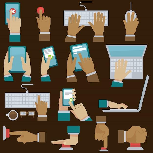 Mains définies avec des gadgets. illustration vectorielle Vecteur Premium