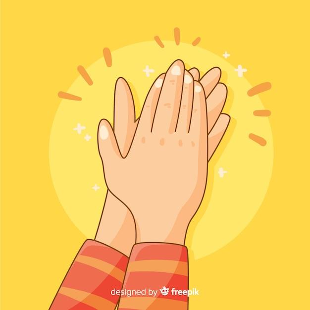 Mains dessinées à la main applaudissant fond Vecteur gratuit