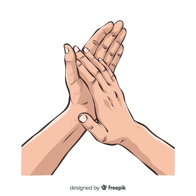 Mains dessinées à la main applaudissant Vecteur gratuit