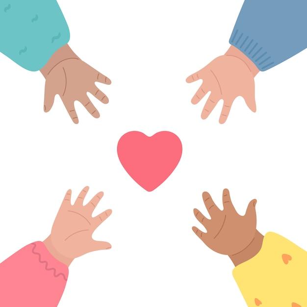 Les Mains Des Enfants Tendent Le Cœur Et Se Touchent. Vecteur Premium