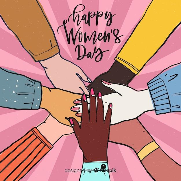 Mains ensemble femme jour fond Vecteur gratuit