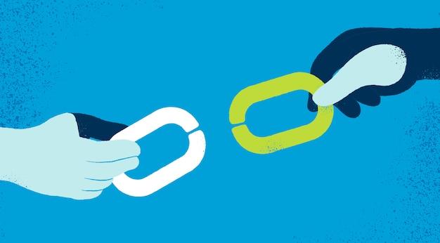 Mains avec fond chaînes Vecteur gratuit