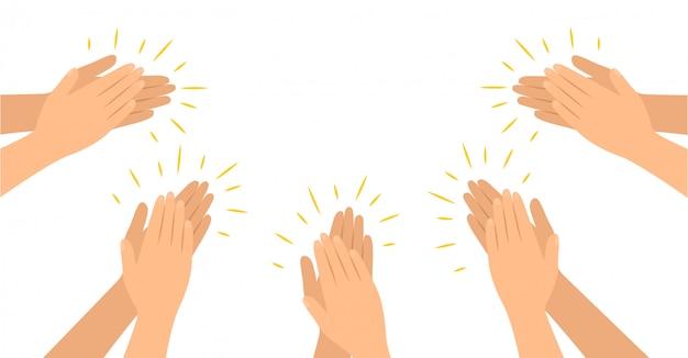 Les Mains Frappent Dans Un Style Plat, Applaudissements Félicitations Applaudissements. Vecteur Premium