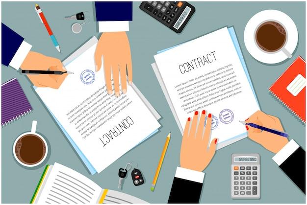 Mains d'homme d'affaires signature de documents Vecteur Premium