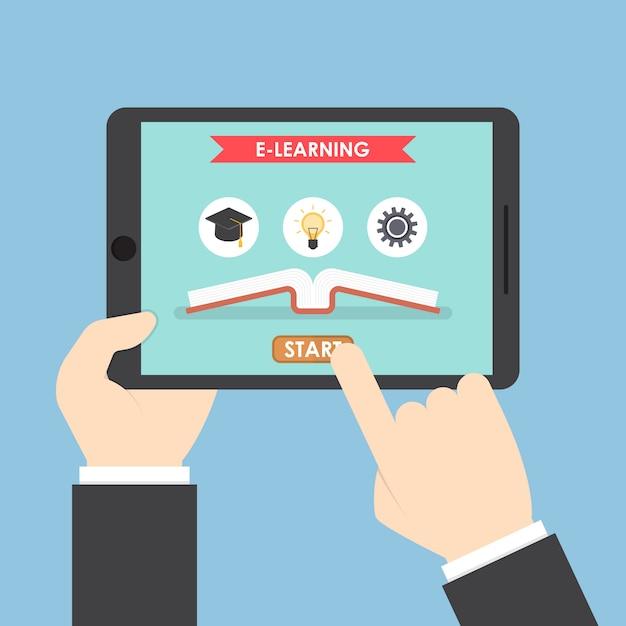 Mains D'homme D'affaires Sur Tablette Avec Système E-learning Vecteur Premium