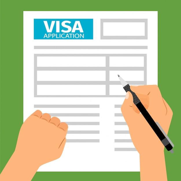 Des mains d'homme remplissant une demande de visa, Vecteur Premium