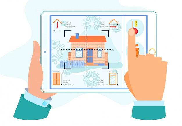 Mains humaines tenant une tablette avec rénovation domiciliaire Vecteur Premium