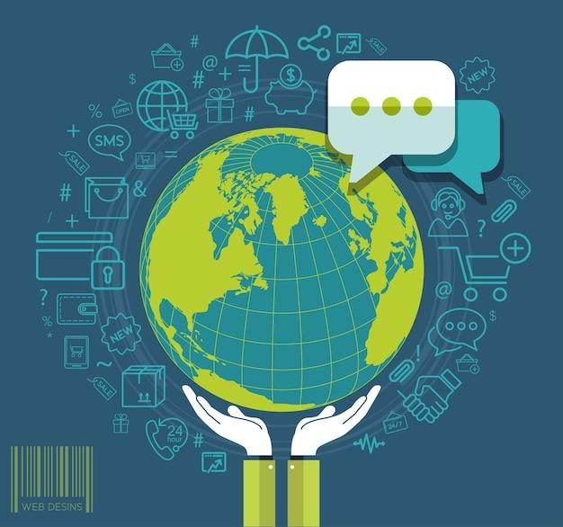 Mains humaines, tenant la terre avec des icônes de médias sociaux Vecteur Premium