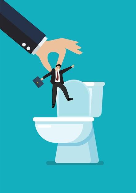 Les Mains Jettent Un Homme D'affaires Dans La Cuvette Des Toilettes. Vecteur Premium