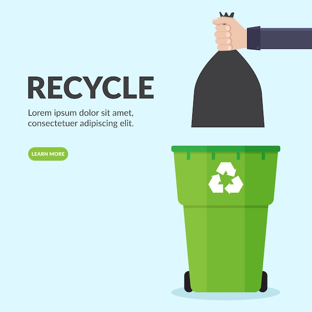 Des mains jettent des sacs à ordures en plastique dans des poubelles Vecteur Premium