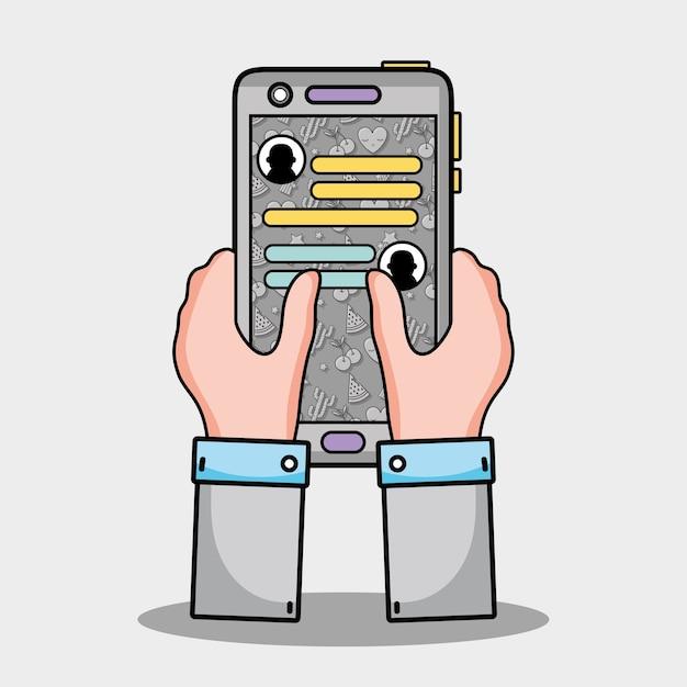 Mains Avec Un Message De Chat Whatsapp Smartphone Vecteur Premium