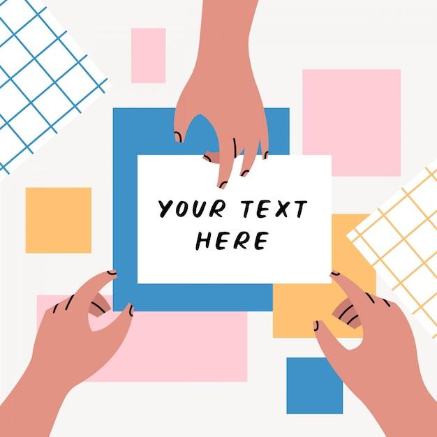 Mains montrant sur le modèle de fond de texte Vecteur Premium