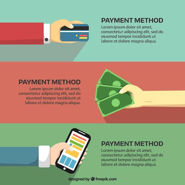 Mains payant avec carte de crédit, téléphone en espèces et par téléphone Vecteur gratuit