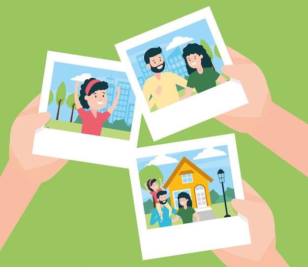 Mains avec des photos en famille Vecteur gratuit
