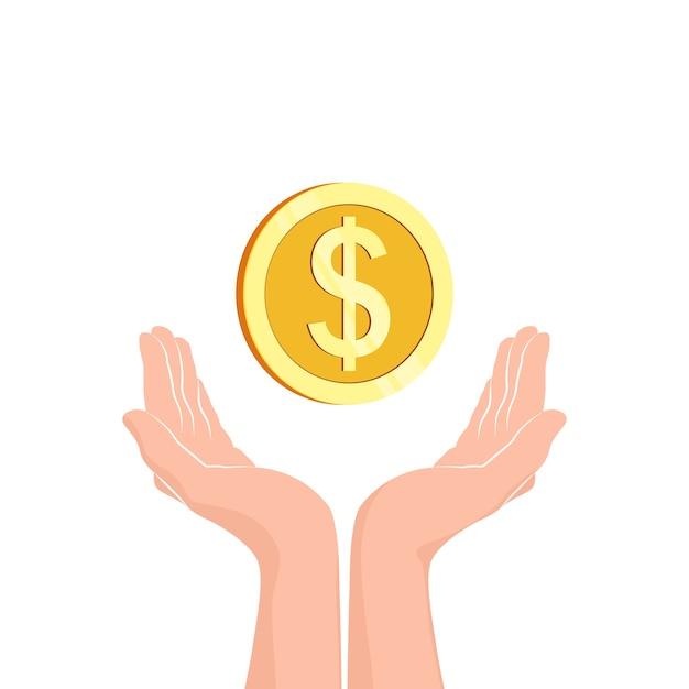 Mains Avec Pièce D'argent Vecteur Premium