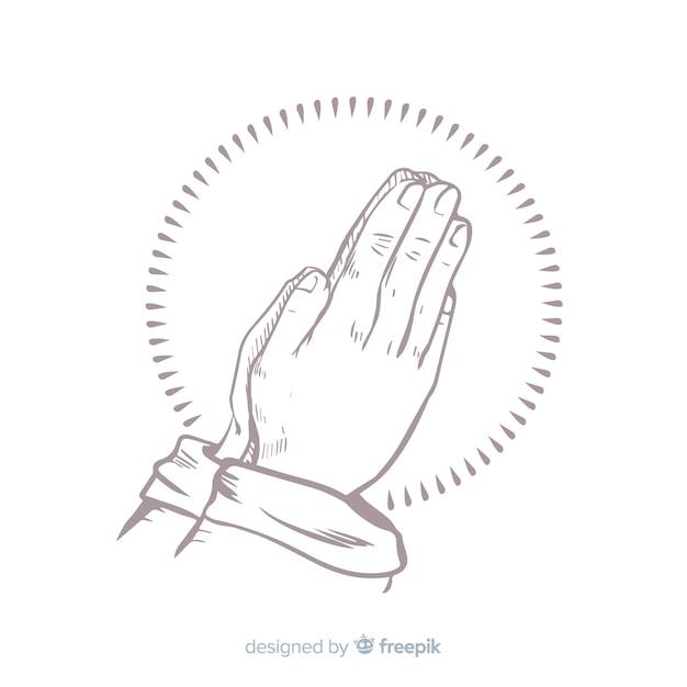 Mains de prière réalistes Vecteur gratuit
