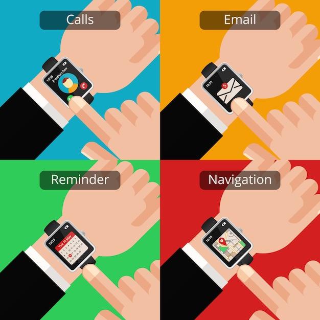 Mains Avec Smartwatch Et Message Non Lu. Technologie Et Courrier, Communication Et écran Vecteur gratuit