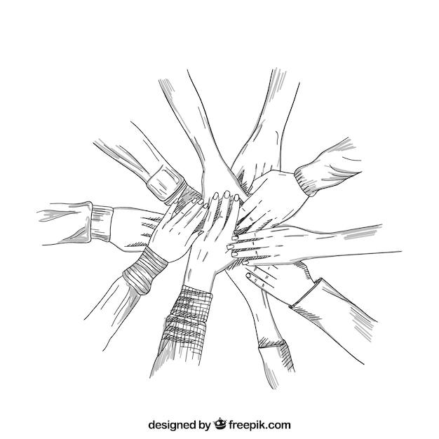 Des Mains Sombres Travaillant Ensemble Vecteur gratuit