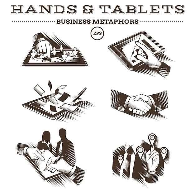 Mains Et Tablettes. Vecteur Gravé Vecteur Premium
