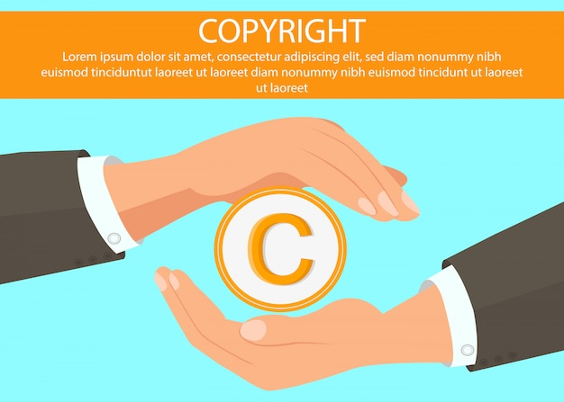 Mains tenant la bannière web symbole du droit d'auteur Vecteur Premium
