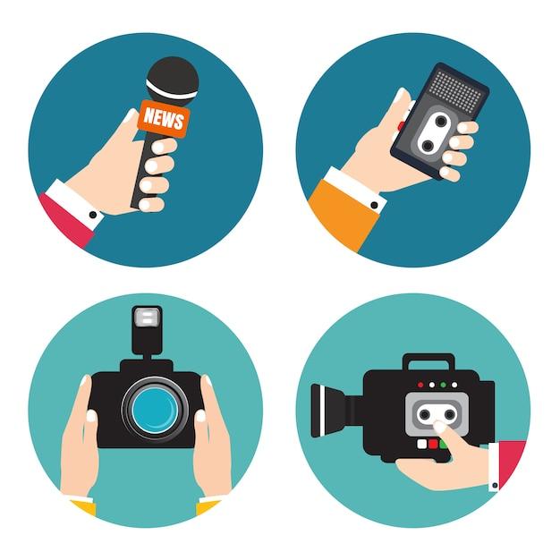 Mains tenant des enregistreurs vocaux, des microphones, une caméra. enregistreur vocal vecteur. nouvelles en direct. appuyez sur illustration. Vecteur Premium