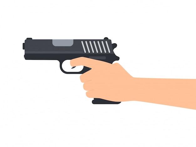 Mains tenant pistolet Vecteur Premium