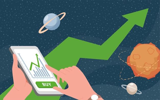 Mains Tenant Le Smartphone Avec Application De Trading Vecteur Premium