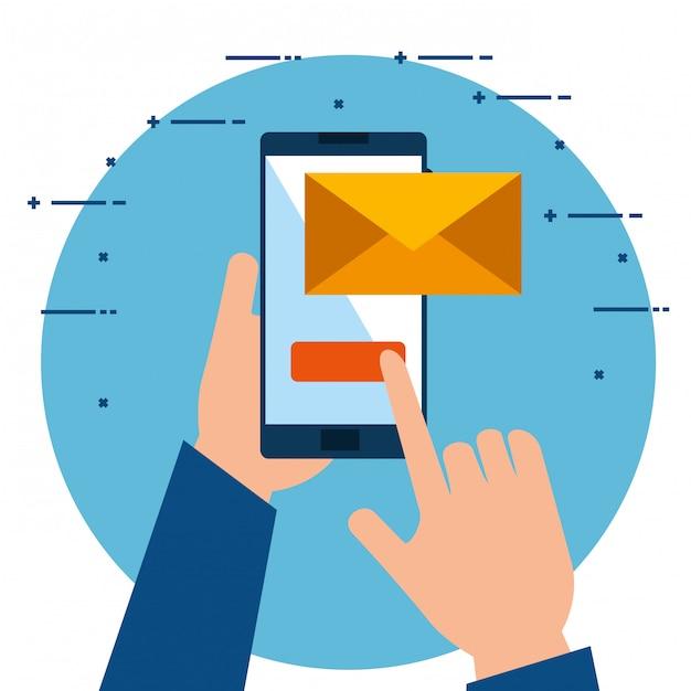 Mains Utilisant Un Smartphone En Envoyant Un Email Vecteur gratuit