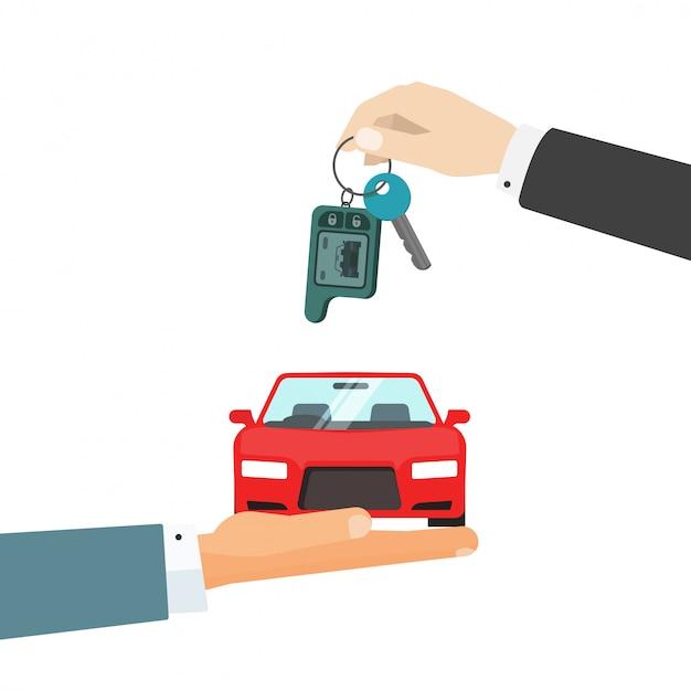Mains, voiture, voiture, clés Vecteur Premium