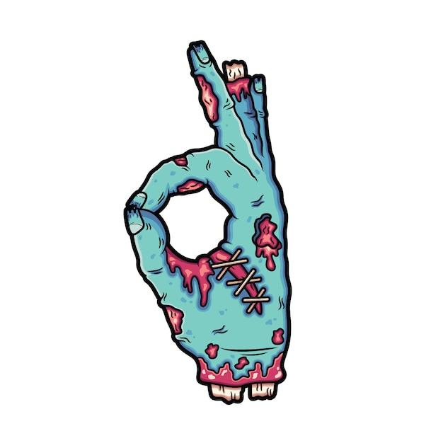 Des mains de zombies cassées font une signature, d'accord. Vecteur Premium