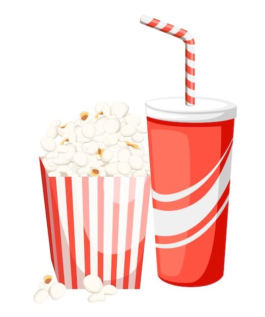 Maïs Soufflé Dans Une Boîte En Carton Rouge Et Blanc Avec Cola Dans Une Tasse En Papier Rouge Vecteur Premium