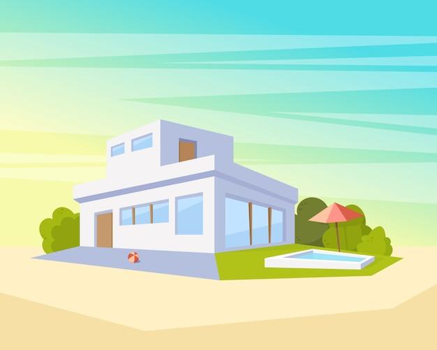 Maison D Architecture Moderne De Style Plat Avec Piscine Et Pelouse Verte Beau Dessin De Paysage Dans La Vue En Perspective Vecteur Premium