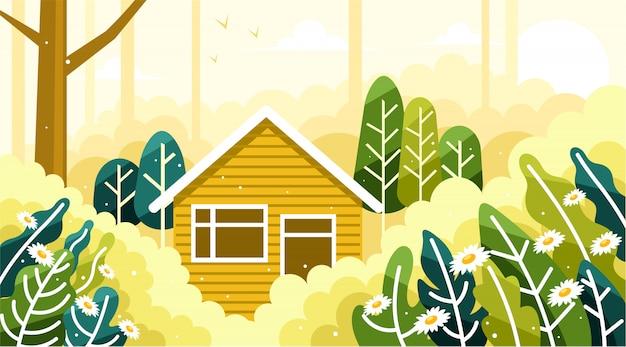 Maison au milieu d'une belle forêt Vecteur Premium