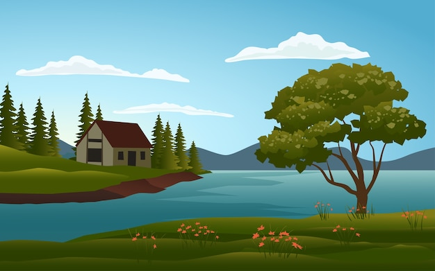 Maison Au Paysage Du Lac Vecteur Premium