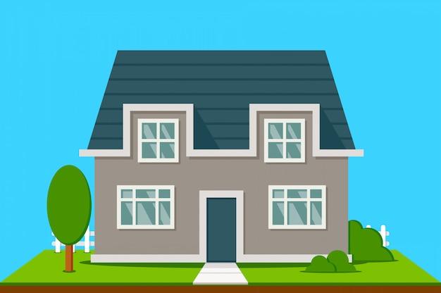 Maison de banlieue avec arbres Vecteur Premium