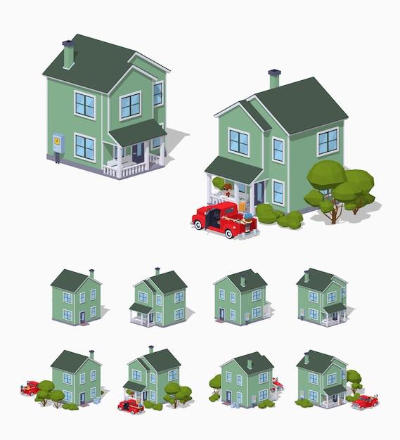 Maison de banlieue isométrique 3d lowpoly Vecteur Premium