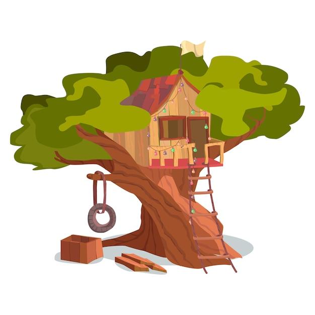 Maison en bois, construction, arbre, extérieur Vecteur Premium