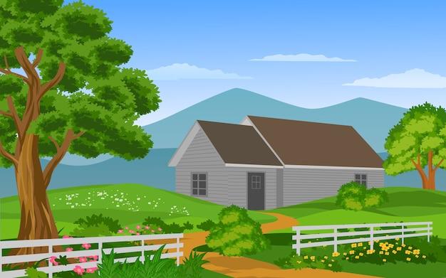 Maison En Bois Avec Cour Verte Et Clôture Vecteur Premium
