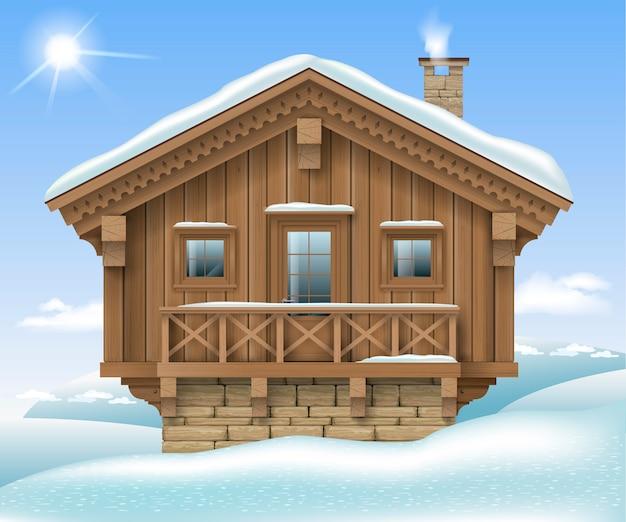 Maison en bois dans les montagnes d'hiver Vecteur Premium