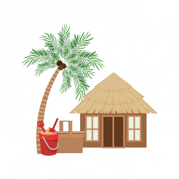 Maison En Bois Sur La Plage Vecteur gratuit