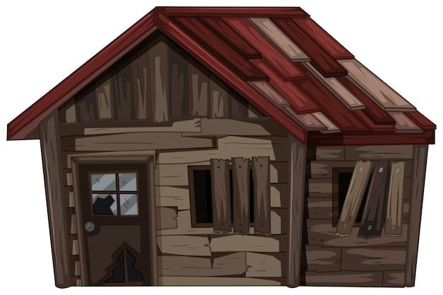 Maison en bois avec très mauvais état Vecteur gratuit