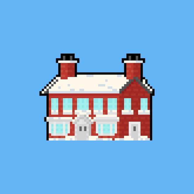 Maison de brique rouge de dessin animé art pixel avec neige recouverte. Vecteur Premium