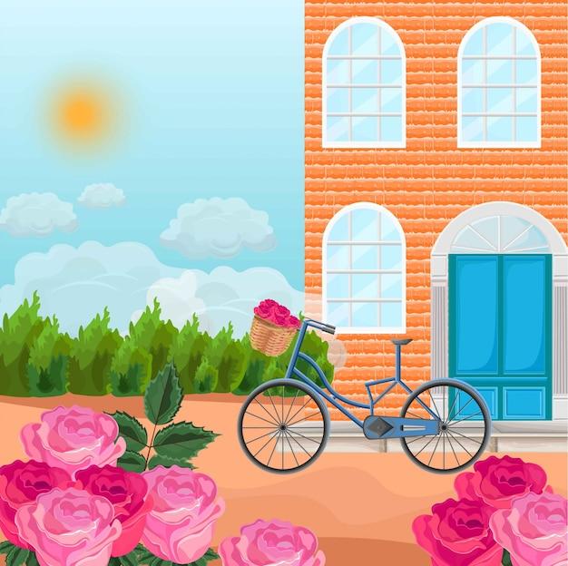 Maison En Briques Dans Un Fond De Province Vector. Bicyclettes Et Champs De Roses Vecteur Premium
